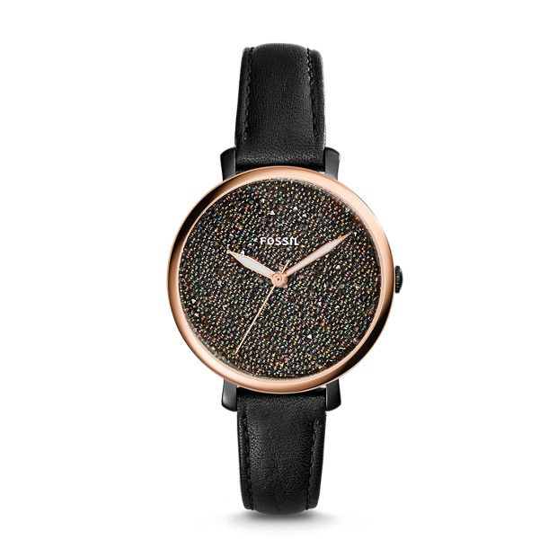 Star light, star bright. What should you wear to your (holiday) party tonight? Inspired by the beauty of the night sky, this striking Jacqueline will light up any outfit. It features a black leather strap accentuated with our shimmering dial for extra sparkle.