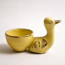 Vintage 1950s Egg Cup - Yellow Ceramic Duck Design - 1960s Kitchenalia