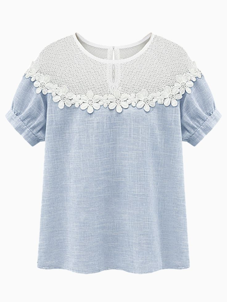 Light Blue Embroider Flower Blouse With Hollow Panel | Choies