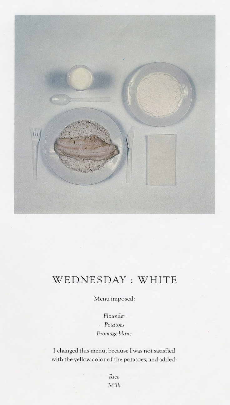 """""""The Chromatic Diet"""" an artistic creation of the writer Paul Auster and artist Sophie Calle"""