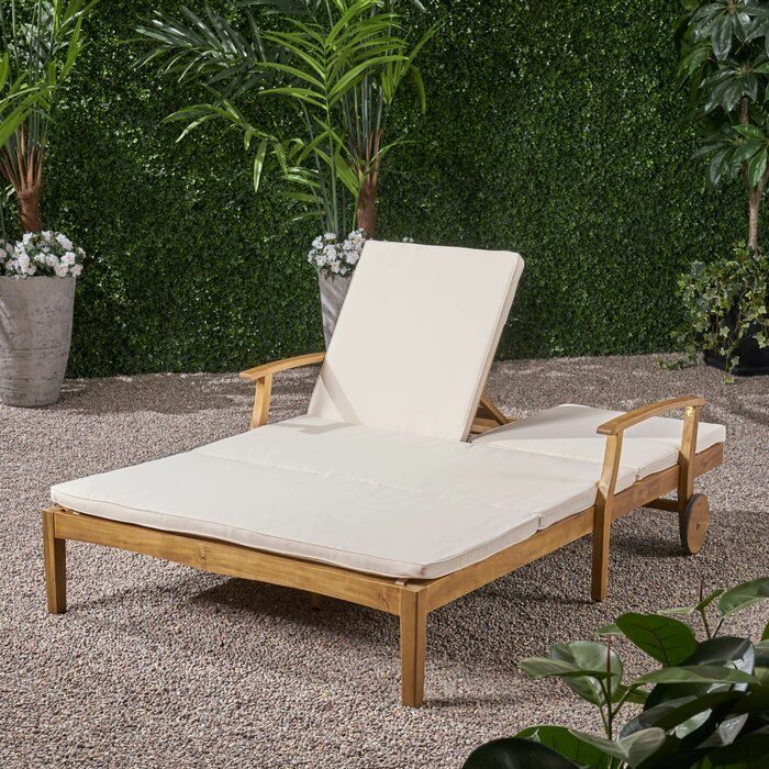 Cara Double Reclining Teak Chaise Lounge With Cushion In 2020 Teak Chaise Lounge Lounge Chair Outdoor Double Chaise Lounge