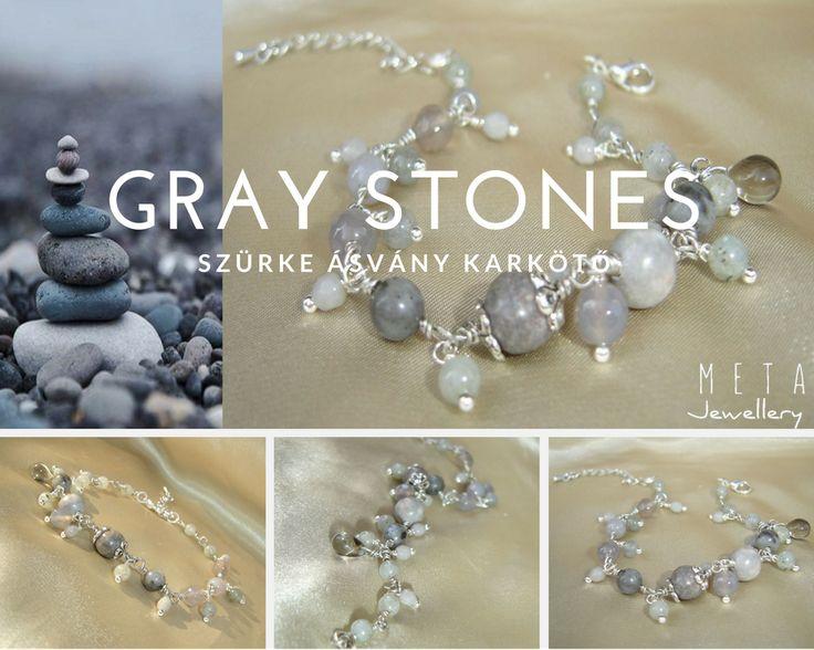 Gray stones - szürke ásvány karkötő