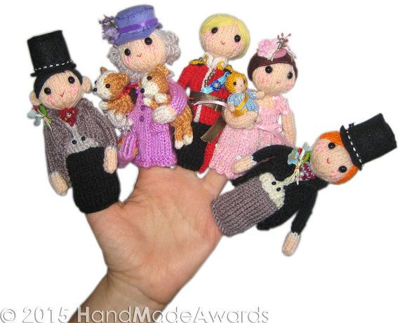 Knitting patterns for Royal Family Finger Puppets - includes er Majesty Queen Elizabeth II and her lovely Cogis dogs, Prince Charles of Wales, Prince Harry, Prince William and Kate Duchess of Cambridge, the little Prince George and baby Charlotte. tba teeny toy
