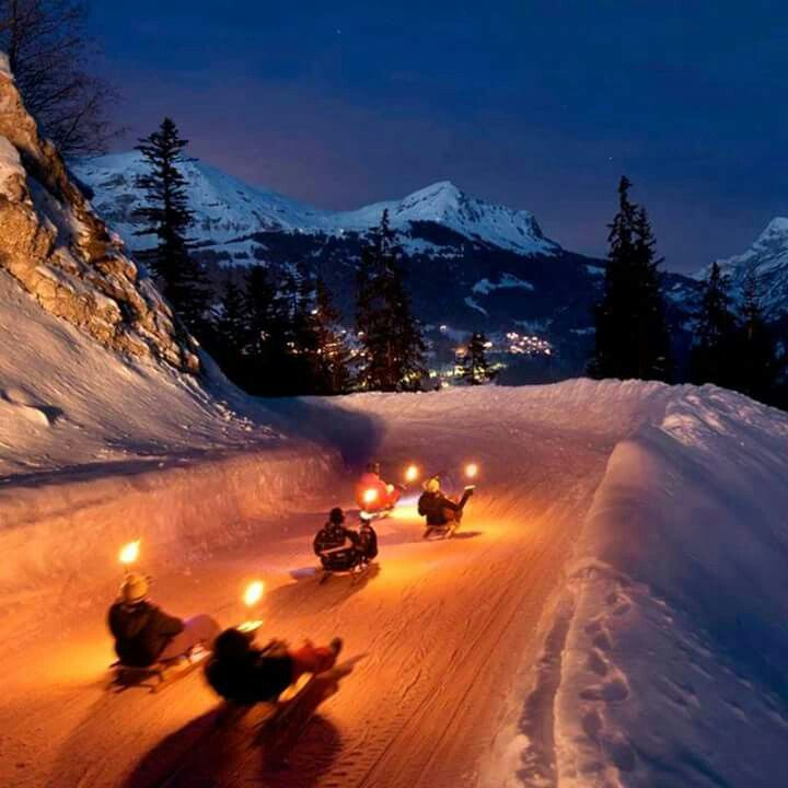 Night sledging, Les Diablerets, Switzerland