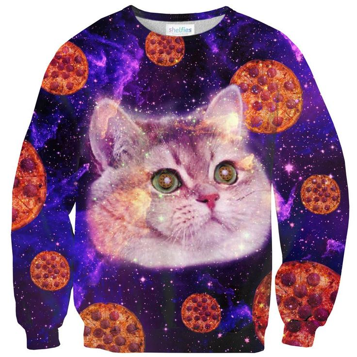 Sweatshirts - Heavy Breathing Cat Pizza Sweater