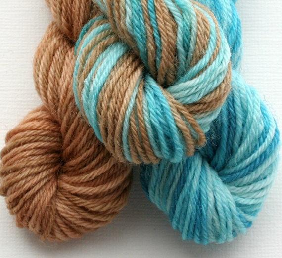 Sock Yarn Mini Skeins Hand Dyed Knitting Wool blue and caramel:  Woolen, Color, Socks Yarns,  Woollen
