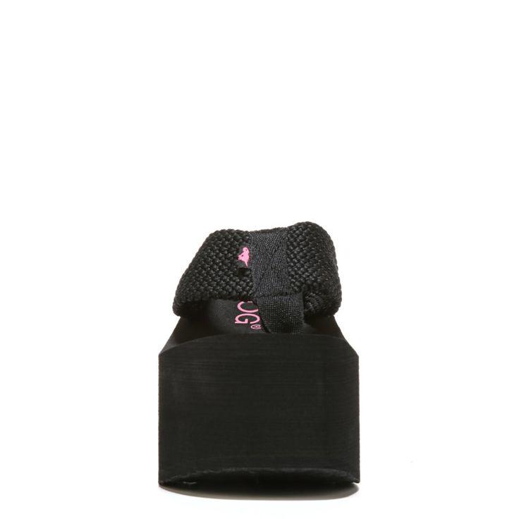 Rocket Dog Women's Big Top Wedge Flip Flop Shoes (Black)