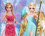 Em Frozen Elsa e Anna Fadas, as irmãs Frozen: Elsa e Anna são lindas e estilosas e agora também são fadas. E essas fadinhas precisam de sua ajuda para ficarem fabulosas em seu primeiro dia de fada. Divirta-se com Elsa e Anna!
