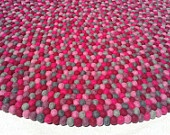 140 cm Felt Ball Rug - Freckle rugs straight from Nepal. Gorgeous! Any size, colour and shape!