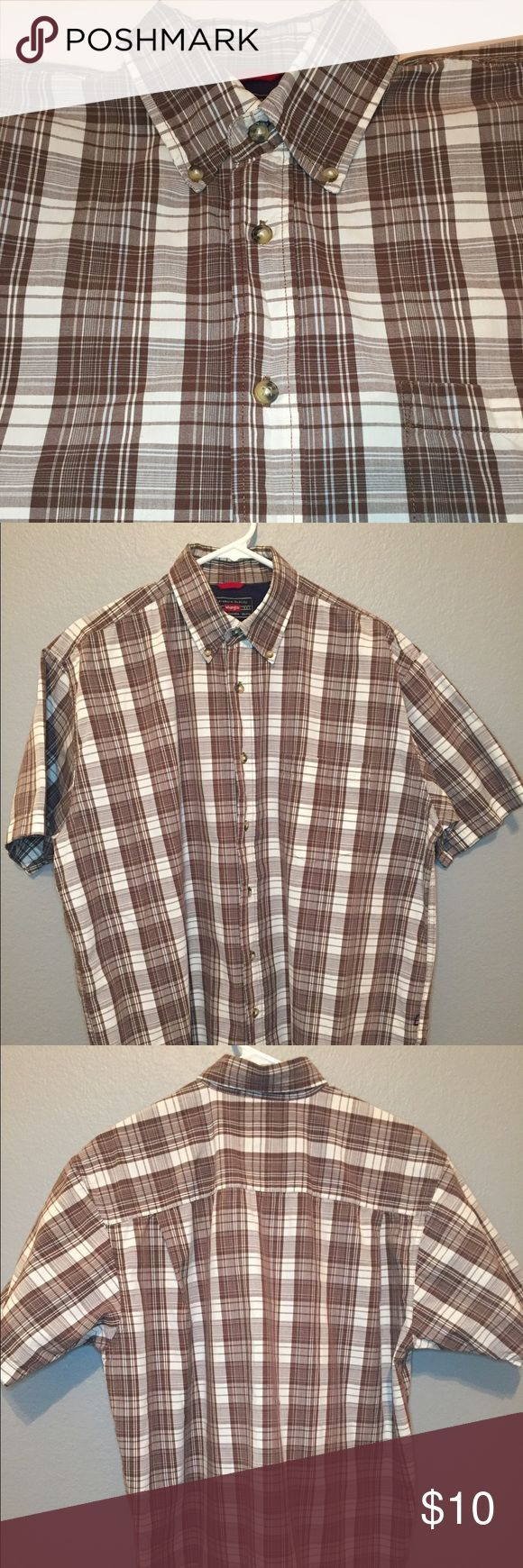 MENS' S/S CASUAL BUTTON DOWN SHIRT Brown & white plaid shirt, crisp texture, 100% cotton, gently worn and in great condition Wrangler Shirts Casual Button Down Shirts