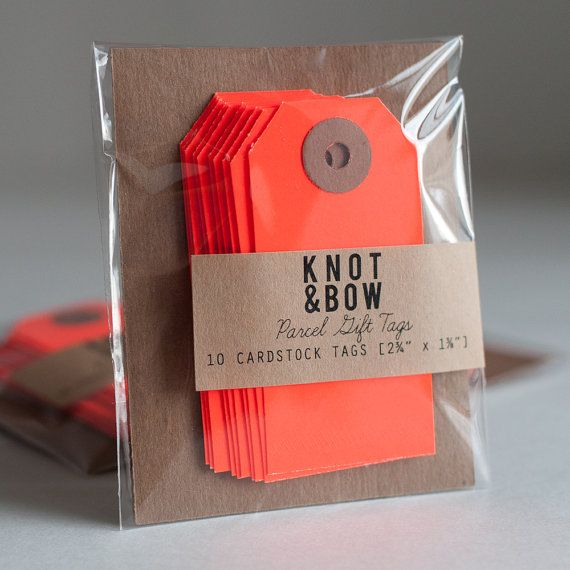 Neon Red Parcel Gift Tags