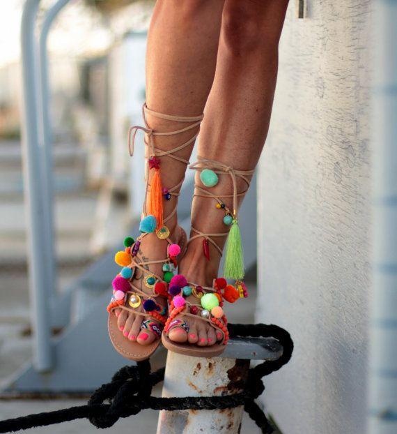 """TIE Up sandalias gladiador, sandalias de cuero griego, Boho sandalias, Pom Pom, """"Chili Mango"""""""