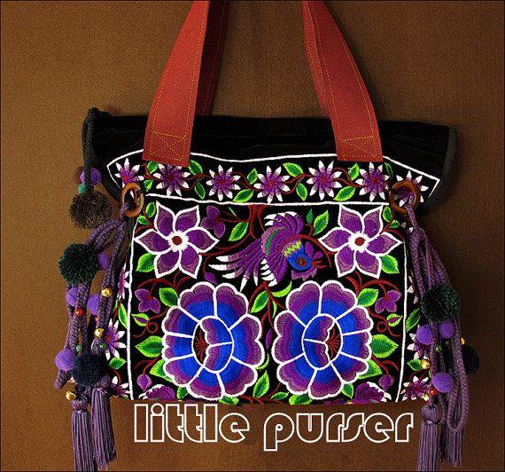 Hand-Made-Bag / Stickerei Beutel/Casual von littlePurser auf Etsy