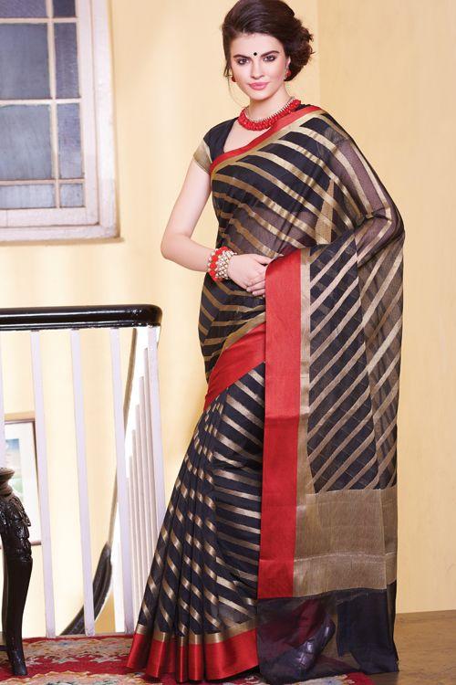 Handloom Zari lehriya, red cotton satin border sarees RP29-16008 (With blouse)