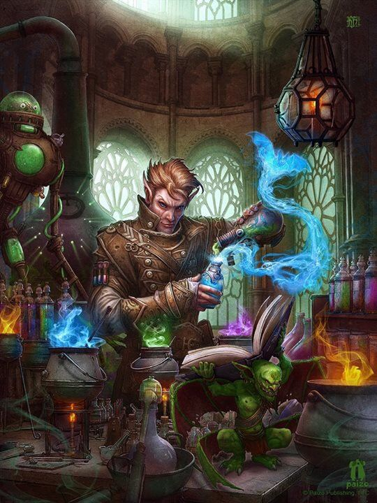Kerem Beyit. Elf mage studying with spells from a book