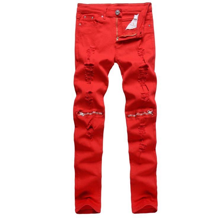 (38.37$)  Buy here  - Red Jeans Men Skinny Jeans Slim Fit Balmai Jeans Elastic Fashion Denim Trousers Long Jeans Male Pants MT43