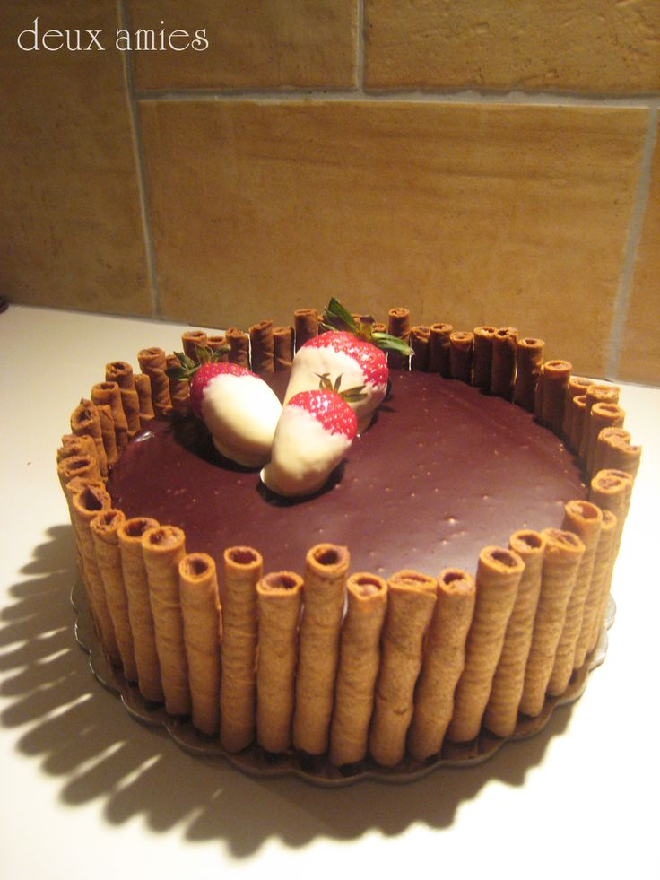 Chocolate cake with chocolate mousse and chocolate mirroir