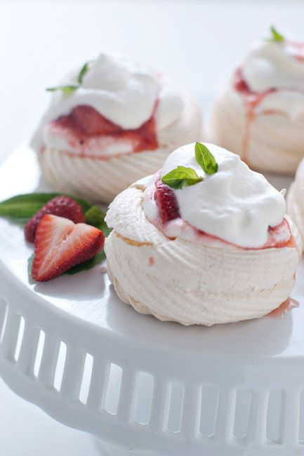 Meringue Nests with Strawberry-Rhubarb Compote | My Baking Addiction