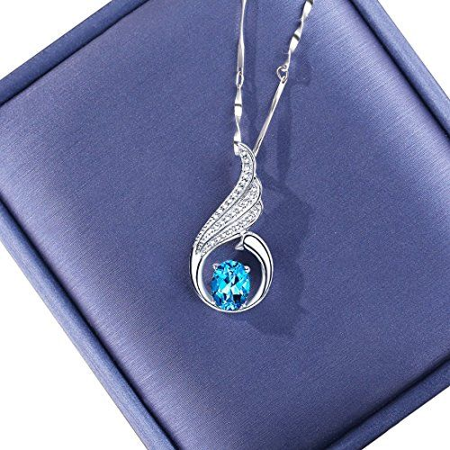 """L.Artisan """"Beauty Peacock"""" Jewellery 925 Sterling Silver Necklace for Women Pendant Sapphire Prime Deal Gift for Ladies/Girlfriend/Wife Necklace With Box Anniversary Birthday Valentine Wedding--16.69"""