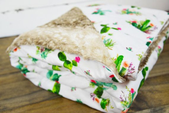 Cactus Minky Faux Fawn Fur baby blanket baby swaddle rustic nursery rustic decor rustic throw blacket western style unique baby bedding unique baby blanket minky baby blanket by TheCozyTot