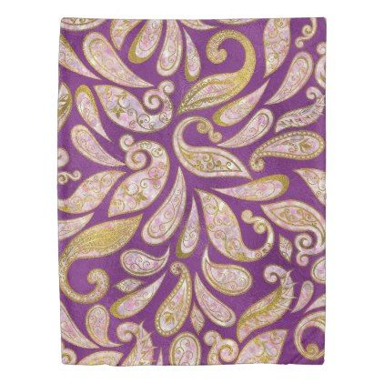#Gold and pink glitter Paisley pattern on purple Duvet Cover - #gold #glitter #gifts