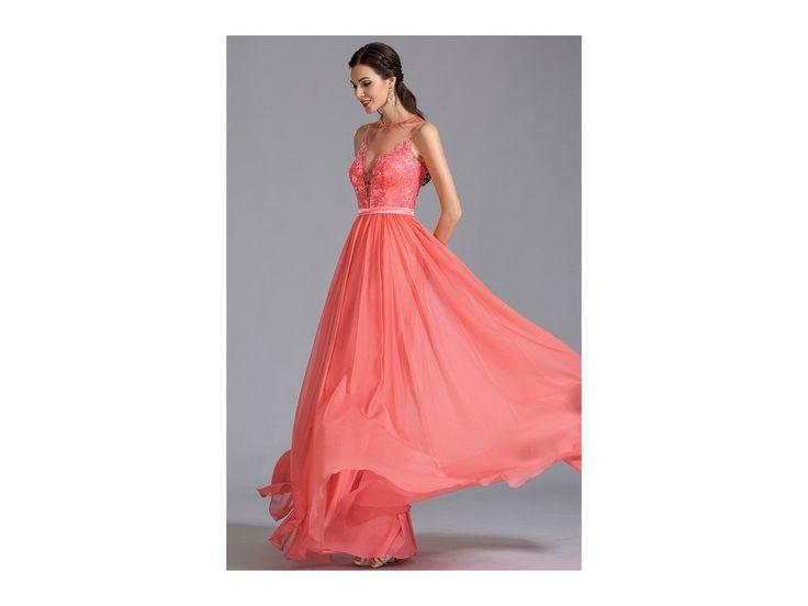 Elegantní plesové šaty korálové střih bez rukávů s hlubokým výstřihem zdobený živůtek živůtek má všitou podprsenku zip na zadní straně délka šatů 155 cm (od ramene k přednímu lemu)