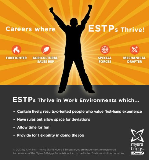 The careers and workplaces where ESTPs thrive!  #MBTI #myersbriggs #careers