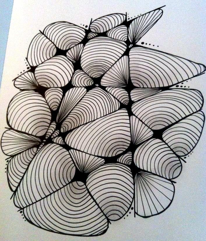 Zentangle By Rikke Poulsen  Pattern : Cockles 'n' Mussels