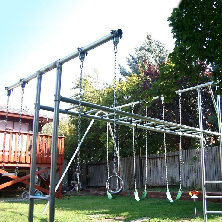 Have to have it. Component Playgrounds Abby Metal Swing Set - $2999.99 @hayneedle.com