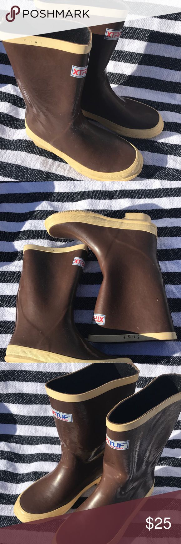 Xtratuf for kids rain boots 2y signature brown In great shape serial code stamped on sides xtratuf Shoes Rain & Snow Boots
