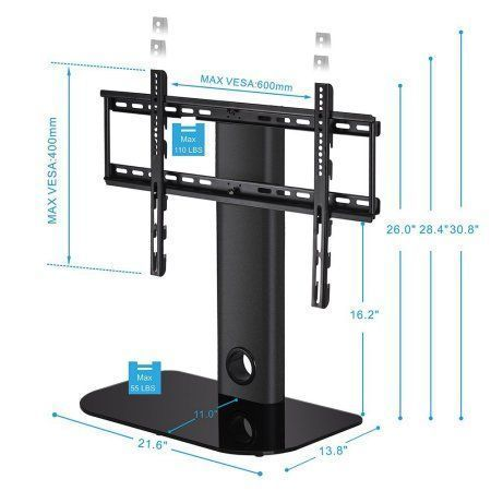 Fitueyes Universal Swivel TV Stand with Mount for 32 40 45 50 55 inch Sony LG Apple Flat-Screen LED LCD Tvs with height adjustable TT105502GB, Black