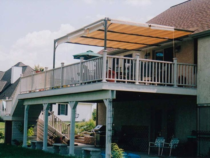 Awnings: Amazing Outdoor Deck Awning With Roof Tile And Patio Deck Awning  Types In Front