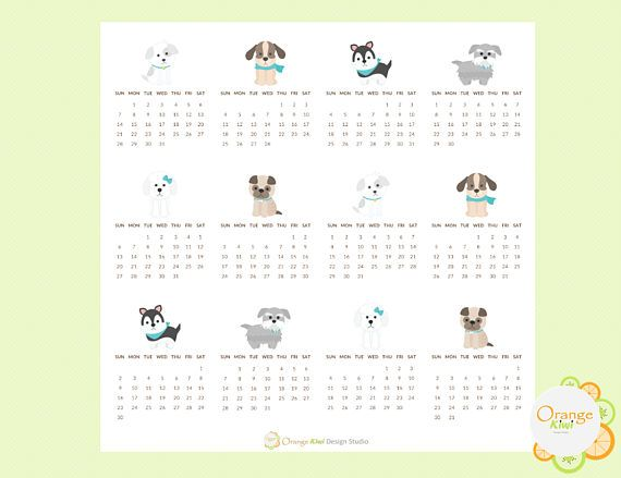 2018 Mini Calendar Stickers Dog Themed 2018 Mini Monthly