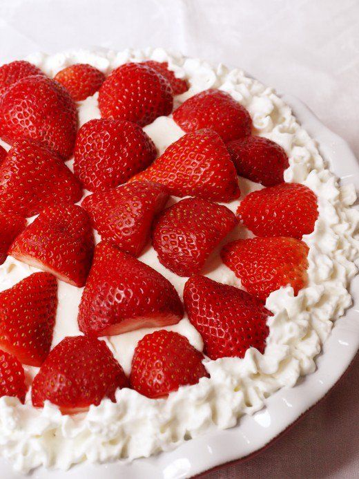 Top your cheesecake with whipped cream and halved berries, or any fruit that is in season.