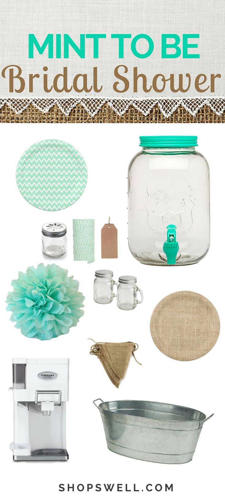 Bridal Inspiration. Mint green is crazy hot in the world of weddings right now. Rock your wedding shower with the must-have items on this list.