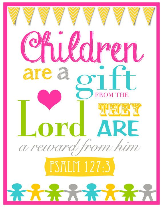Children Are A Gift From God  Bible Verse Wall Art by BoshaCards, $6.50