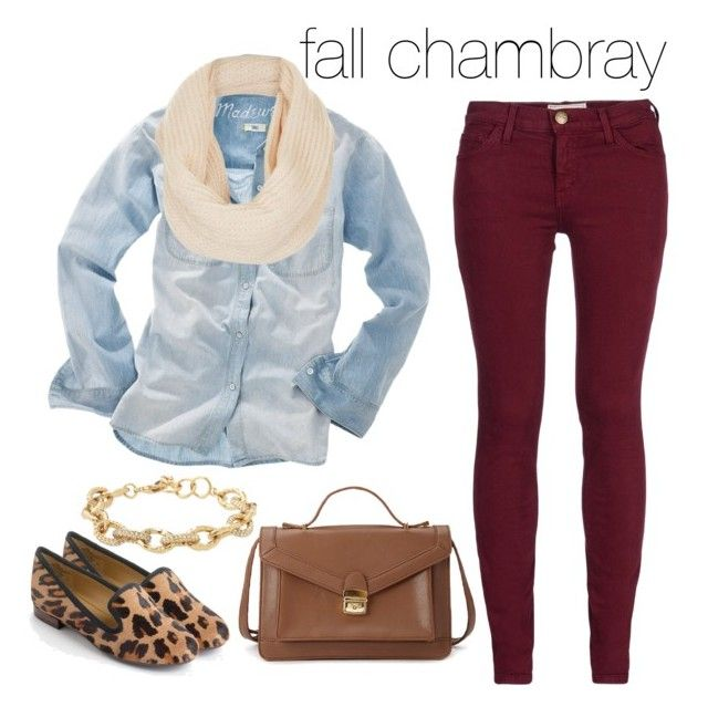 """""""fall chambray"""" by rachelrx ❤ liked on Polyvore featuring Mode, Current/Elliott, Madewell, Topshop, Forever 21, Nine West und Stella & Dot"""
