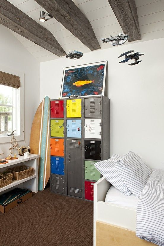 Love the idea of school lockers in a boys bedroom.. great for storage!