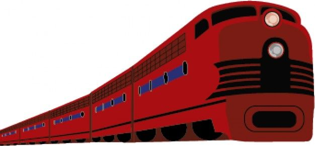 Modern train cartoon in red vector Vector | Free Download