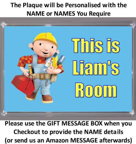 Personalised XL Size BOB THE BUILDER Bedroom Door Plaque - Plaque Size 16.5cm by 11.5cm - An Ideal Gift Custom made http://www.amazon.co.uk/dp/B00IKGXME2/ref=cm_sw_r_pi_dp_Jvybub0WADN8M