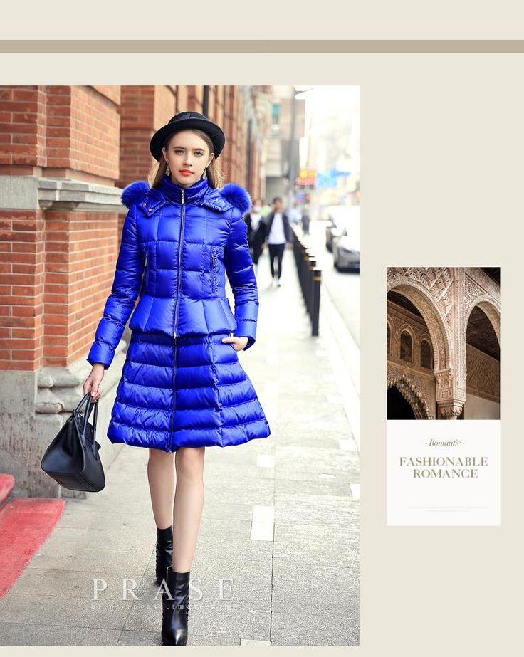 Femmes hiver bas capuche en fourrure de renard jupe unie Style blanc duvet de canard veste marque mode élégante hiver bas dans Vers le bas et Parkas de Femmes de Vêtements et Accessoires sur AliExpress.com | Alibaba Group