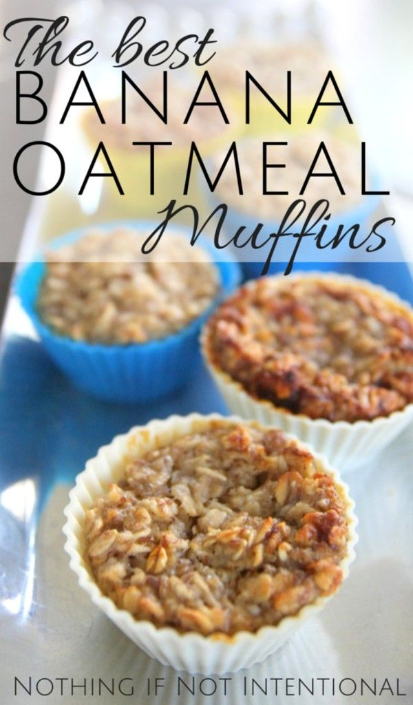 Banana Oatmeal Muffins for Kids. I use about half the honey it calls for and sometimes add a little applesauce