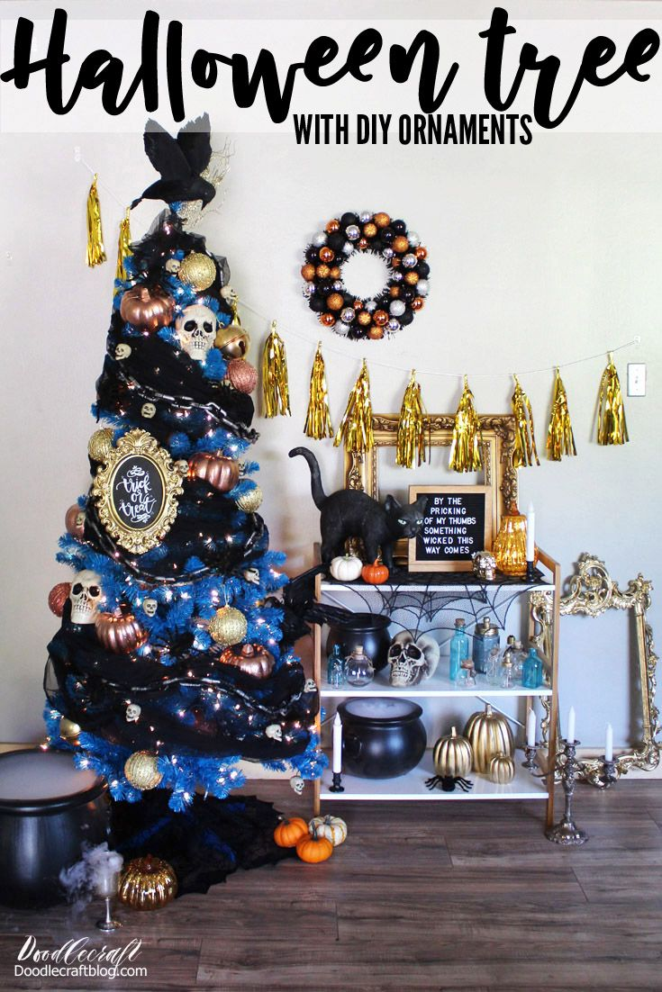 Diy Halloween Tree Ornaments With Crow Topper On Blue Tree Halloween Trees Diy Halloween Tree Halloween Christmas Tree
