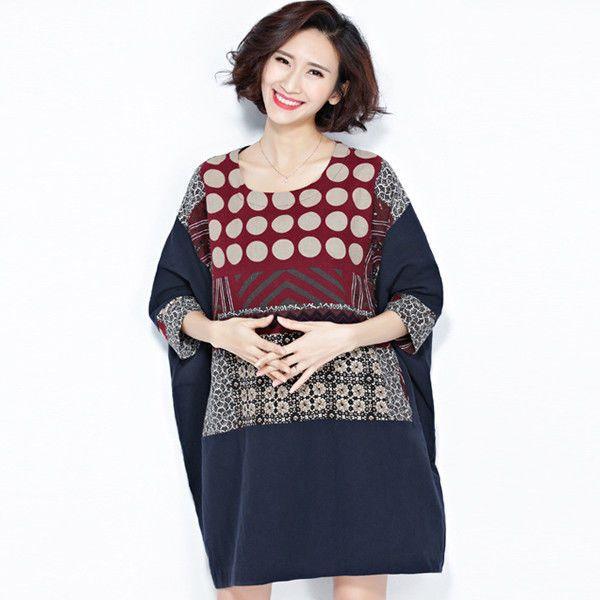 Oldschool Lady Blue Ethnic Style Print Mandala Loose Dress