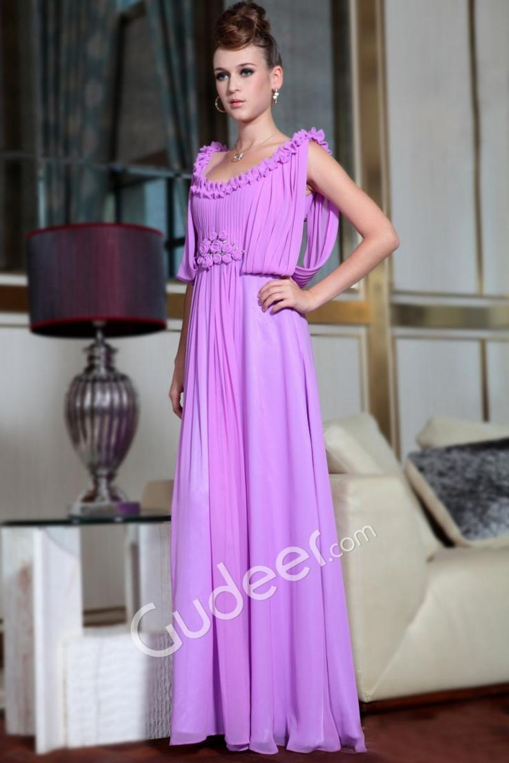 Lilac Chiffon Sleeveless Origami Scoop Neckline Long Prom Formal Dress
