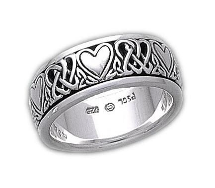 Sterling Silver Celtic Heart Knot Spinner Ring