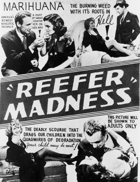 A poster advertising 'Reefer Madness', an anti-drugs exploitation film, dealing with the pitfalls of marijuana smoking, directed by Louis J. Gasnier, 1936.