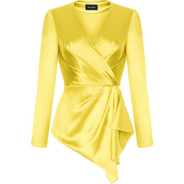 V-Neck Blouse | Moda Operandi ($1,020) ❤ liked on Polyvore featuring tops, blouses, yellow blouse, yellow top, ruffle v neck blouse, asymmetric hem top and flutter-sleeve tops