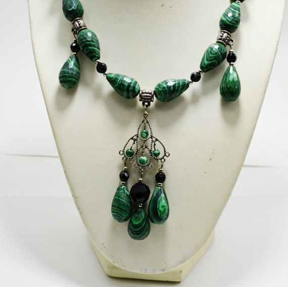 Hey, I found this really awesome Etsy listing at https://www.etsy.com/listing/270772503/green-and-black-statement-beaded-jewelry