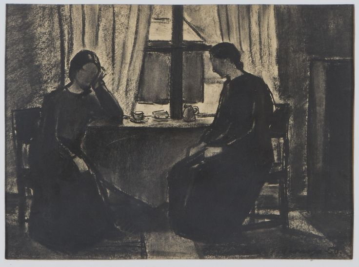 Veikko Vionoja: Sisäkuva, 1950, hiili, 27x37 cm - Hagelstam A134